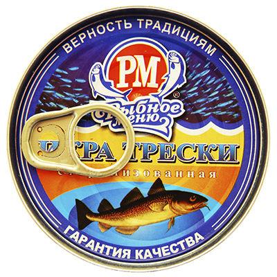 """Икра трески стерилизованная  (""""Рыбное меню""""), 200 г"""